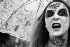 Scream (Silver Machine) Tags: bristol bristolzombiewalk2016 zombie girl scream umbrella eyes streetphotography street streetportrait streetparade walking blackwhite bw mono monochrome fujifilm fujifilmxt10 fujinonxf35mmf2rwr