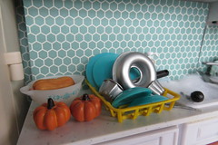 8. Dishes Drying (Foxy Belle) Tags: kitchen doll dollhouse miniature thanksgiving retro vintage tile blue aqua turquoise barbie playscale 16 rement food squash pumpkin