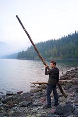 _..Carry a Big Stick (drapsch) Tags: camping portrait lake nature stone g4 hiking lg glacier driftwood