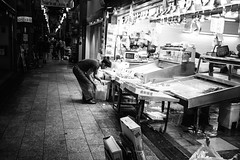 Kyoto_Shop_Clean up at end of day 2 (Vincent Albanese) Tags: life street light people bw woman sunlight man bike japan shop dark walking photography japanese fuji shadows candid transport sydney inspired streetphotography saturday australia pedestrian smoking explore adobe biking fujifilm midday learn shopfront brilliance lightroom amatuer shopkeeper allpeople presets 23mm mirrorless xpro1 inspiredeye lightroom5 xf23mm x100s xf27mm elephantgunpreset