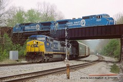 .(SEE & HEAR), CSX 7808, Q249, CR 6260, Wampum, PA. 5-13-1995 (jackdk) Tags: railroad trestle bridge train railway locomotive coal ge signal cr csx conrail csxt coaltrain ple c408 gelocomotive