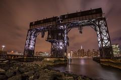 Gantry Plaza 111315 (AAA Studio) Tags: park new york city nyc sky night clouds river island evening pier rocks long purple steel shore lic hdr railtracks gantry photomatix 2exp easr hdrsoft