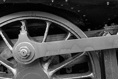NCSRR locomotive detail in monochrome (FotoFloridian) Tags: railroad wheel flickr conway north steam locomotive