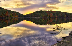 Ripples in the Fabric of Tranquility 2 (SteveFrazierPhotography.com) Tags: october20 2013 lakeargyle sunset beautiful wiuhotshots aurorahdr googlenik colorefexpro mcdonoughcounty colchester illinois il lake water smooth reflections autumn fallcolor foliage shoreline shore sundown evening clouds nature