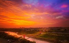 Sunset (zxcv2521g2001) Tags: fujifilm fujifilmxt1 xt1 samyang12mm 12mm taiwan  sun sunset orange yellow red bri bridge cloud