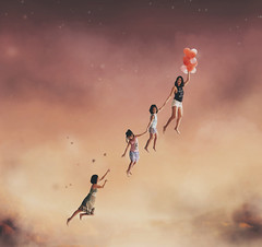 97/365 (itskatrinayu) Tags: surreal flying children manipulation conceptual self portrait 365 project sunset sky balloons