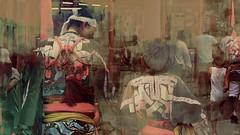 Proud (Off till18th/Bamboo Barnes - Artist.Com) Tags: japan fatherson autumn festival ritualdance costume street afternoon green blue red yellow oriental bamboobarnes digitalart photo art sepia