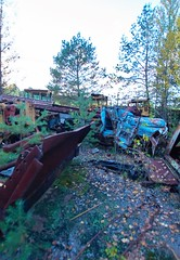Vehicle Dump-(Chernobyl Exclusion Zone)_1 (Landie_Man) Tags: none vehicle car truck van tank minesweeper lorry radioactive radiation clean up liquidator liquidation chernobyl heros heroes pripyat scrap scrapped junk dumped transport transportation the zone exclusion ussr ccp cccp soviet union ukraine metal harvesting trash dead looted