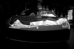 Ferrari 488 Spider, front, reflection (David A. Barnes) Tags: leica leicam240 summiluxm35mmasphfle ferrari ferraribyleica ferrari488 ferrari488spider italiansportscar car automobile blackandwhite noiretblanc blancoynegro biancoenero reflections supercar