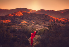Red ({jessica drossin}) Tags: jessicadrossin portrait landscape mountains light hills red dress hair trees sky outdoors scenic wwwjessicadrossincom overlays