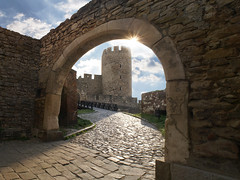 Flare (Dragan*) Tags: tower wall brick fortress kalemegdan sunlight clouds sky nature vault outdoor arch architecture beograd belgrade stone