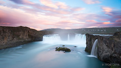 Sunset at Godafoss Waterfall (TP DK) Tags: flowing godafoss iceland longexposure milky pink red rocks silky sunset water waterfall