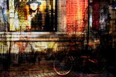 winkelen (roberke) Tags: windowshopping window uitstalraam raam bike fiets photomontage photoshop layers lagen textures textuur creative creation surreal kleurrijk kleuren