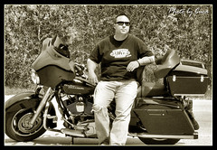 Aug 2009 - Gabe in Spearfish Canyon (lazy_photog) Tags: lazy photog elliott photography worland wyoming gabe son harley davidson street glide spearfish canyon sturgis motorcycle rally black hills sepia