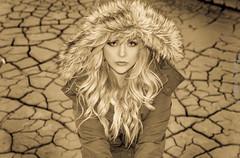 Cracked Girl (cuddleupcrafts) Tags: girl cracked landscape portrait hood fur photography hollister jacket beautiful lovely lake bed antelope island state park utah