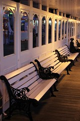 Empty benches on Brighton Pier (Carol Spurway) Tags: brighton pier thebrightonmarinepalaceandpier palacepier brightonpier brightonpalacepier