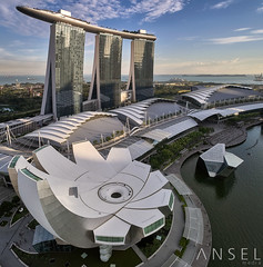 Sands Of Gold (draken413o) Tags: singapore marina bay sands skyline skyscrapers architecture sunset light drone flight dji phantom 4 pro arts science museum urban places scenes asia travel destinations vertorama wow amazing