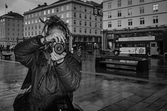 """One street photographer to another"" (Terje Helberg Photography) Tags: bw sentrum torgallmenningen blackandwhite bnw bus citylife cityscape monochrome nikon people photograper rain street streetphotography streetlife urban urbanlife bergen hordaland norway samsung nx30 nx"