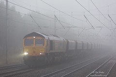 Emerging from the gloom (TimEaster) Tags: mist class66 gbrf gbrailfreight 6m54 colnbrook bardon harpenden midlandmainline mml 66757 gloom westsomersetrailway train shed