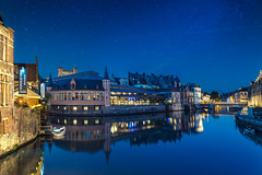Ghent (CROMEO) Tags: ghent gent gante belgium belgica paises bajos city ciudad nigh blue hour hora azul canal canales luces lights people turismo cromeo cr carlos romeo gold sky medieval amazing place euro europe ue union flamenco turism tourism arquitectura building