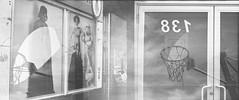 Darth Vadar was a Basketball Star (Maureen Bond) Tags: maureenbond ca filmswap phillipchee film blackwhite kb21 develop scanned canada windoes basketball clouds reflection darthvadar starwars 138 831 numbers door nothingbutnet chain swoosh swish star highkey