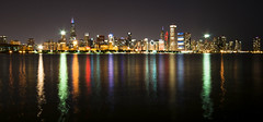Chicago (Kevin Casey Fleming) Tags: chicago city buildings water reflection longexposure landscape long lights light quest environment enviroment epic explore exposure beautiful lake illinois towers willis tower green colors orange purple dark colorful classic pretty wideangle d90 journy journey nikon vivid vision view gaze nightscape