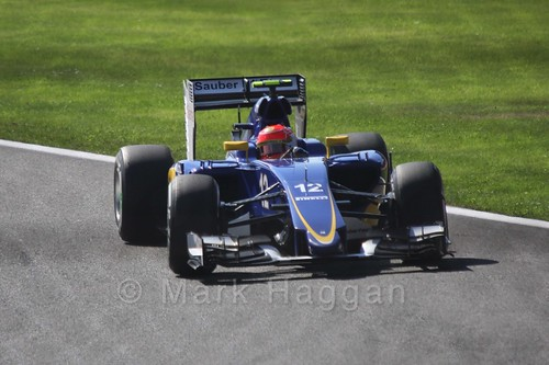 Felipe Nasr in his Sauber in Free Practice 3 for the 2015 Belgium Grand Prix