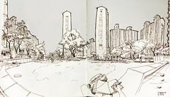 Sketching an apartment complex (아파트 단지) in Cheongcheon-dong (청찬동), Korea (velt.mathieu) Tags: building korea croquis corée 한국 urbansketching