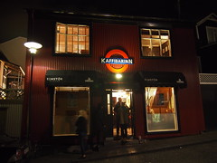Kaffibarrin, a local hip cafe owned by David Albourne from The Gorillas!