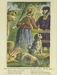The old woman & her pig (Toronto Public Library Special Collections) Tags: dog man tree rural fire pig cow cap sideburns stick oldwoman swine fairytales pail chapbooks englishfolklore