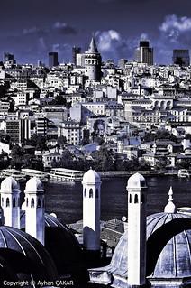 Monochrome Blue Golden Horn Istanbul