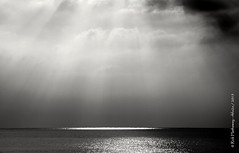 Gods fingers (rhfo2o - rick hathaway photography) Tags: light sea sky blackandwhite bw sun sunlight reflection beach clouds canon mono seaside westsussex empty horizon rustington canoneos7d rhfo2o