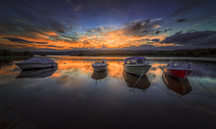 The Puzzle (lonekheir) Tags: sunset lake beach norway boats norge tyrifjorden abigfave