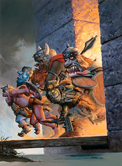 Axe Me Another One by Keith Parkinson (Tom Simpson) Tags: castle illustration painting gaming fantasy rpg goblin dungeonsanddragons troll drawbridge moat fantasyart keithparkinson