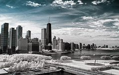 Chicago in Infrared (syncros) Tags: chicago skyline ir downtown cityscape infrared navypier