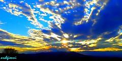 supernova (archgionni) Tags: blue stella trees light sunset sky panorama sun nature alberi clouds skyscape landscape star tramonto blu natura hills rays sole picturesque luce colline raggi