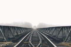 In the Distance (Joey Wharton) Tags: bridge mist misty fog train virginia foggy tracks railway richmond va rails rva