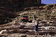 Cliffhanger - Heading Down (W9JIM) Tags: red jeep offroad moab w9jim cliffhanger wrangler rubicon jeeping 1740l