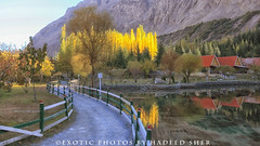 A path to remember !! (C@MARADERIE) Tags: autumn pakistan color horizontal fence reflections track outdoor nopeople hut woodenfence colored northernareas skardu skarduvalley redut