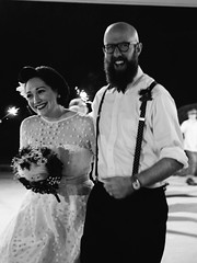 Laura & Josh (BurlapZack) Tags: wedding bw monochrome vintage beard happy mono groom bride couple availablelight smiles bowtie marriage reception handheld exit suspenders pack05 texarkanatx panasonicleicadgsummilux25mmf14 vscofilm olympusomdem5 mooreslanefirstbaptistchurch