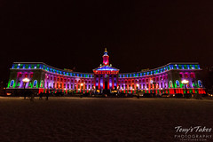 The Denver City and County Building Lit up for Christmas