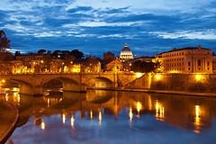 Rome (peterreading) Tags: rome basilica catholic roman evening river tourist tourism religion famous heritage architeture waterway water afternoon dusk lighting lights history historic roma italy europe european
