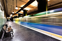 the color of underground (Blende57) Tags: subway underground subwaystation train tram longexposure wideangle colors colorful motionblur blurred speedblur lighttrails
