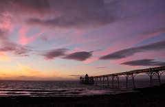 Sunset at the Pier (Baker_1000) Tags: 2016 clevedon sunset dusk twilight bluehour evening beach pier clevedonpier nikon d90 nikond90 magiclight somerset northsomerset