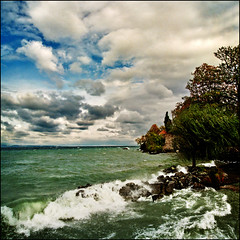 I was drenched by the wave a second later ..:( (Katarina 2353) Tags: landscape france katarina2353 katarinastefanovic lake autumn