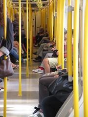 Yellow Poles (Jenny Beatty) Tags: tube london yellowpoles riders