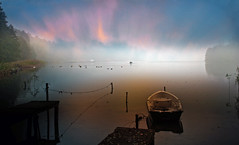 mist (augustynbatko) Tags: mist lake water nature fog view landscape sky clouds boat outdoor birds