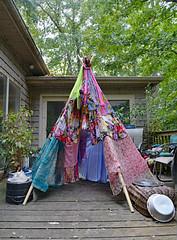 Gypsy Teepee (BKHagar *Kim*) Tags: bkhagar teepee gypsy bright fabric floral silk scarves deck outdoor idea thought project