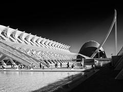 city of sciences (FloBue) Tags: 2016 valencia architettura architektur architecture city citt stadt blackandwhite schwarzweiss biancoenero highcontrast contrastoalto kontrast calatrava