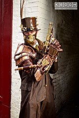 IMG_6324 (Neil Keogh Photography) Tags: 2016 adventurer alleyway armour black brass brown coat cogs copper cravat gears gloves goggles gun jacket leather mask metal november november2016 october pipes rivets shirt steampunk straps street tartan tophat whitbygothweekend white
